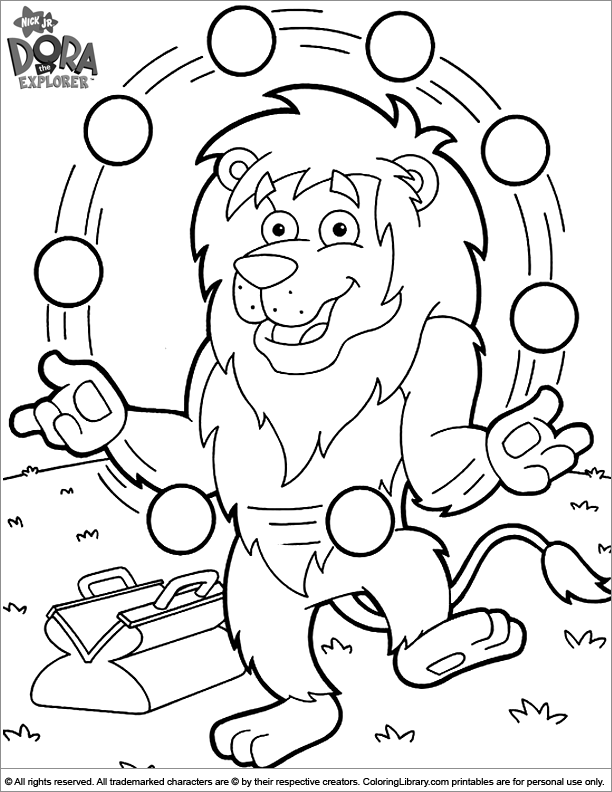 Dora the Explorer colouring sheet for kids