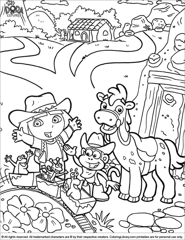 Dora The Explorer Coloring Printout - Coloring Library