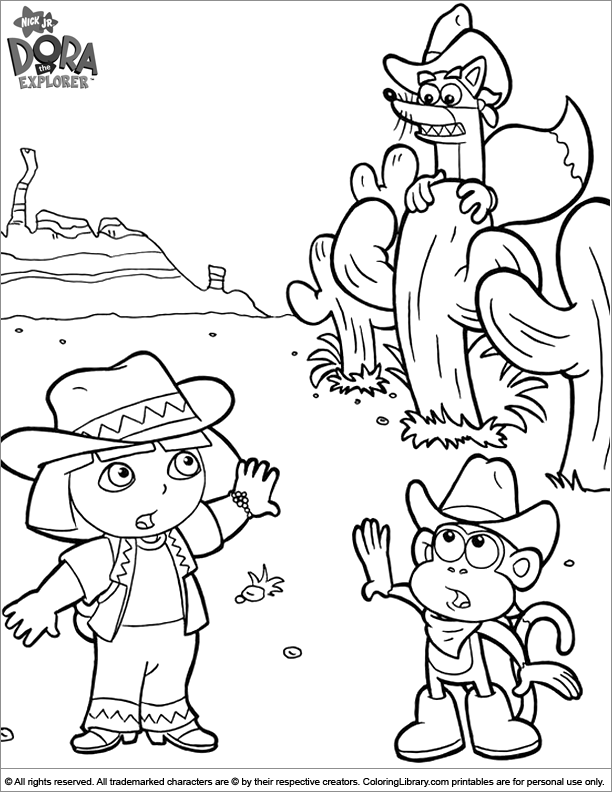 Dora the Explorer coloring page for kids to print