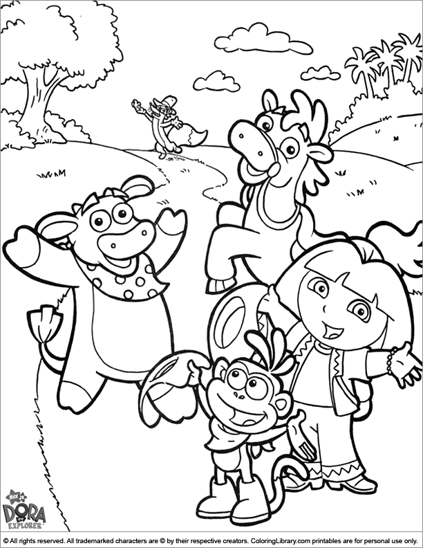 Dora the Explorer coloring picture to print