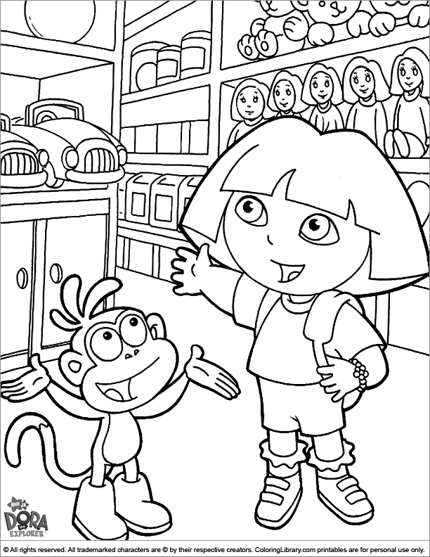 Dora the Explorer coloring pictures for kids