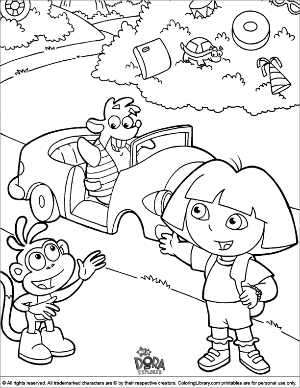 Dora the Explorer free coloring sheet