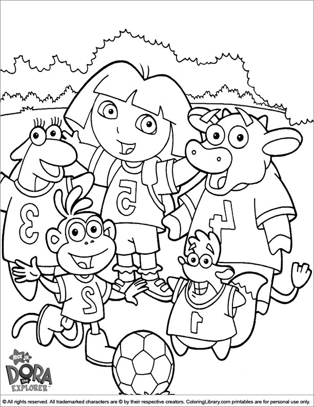 Dora the Explorer free online coloring page