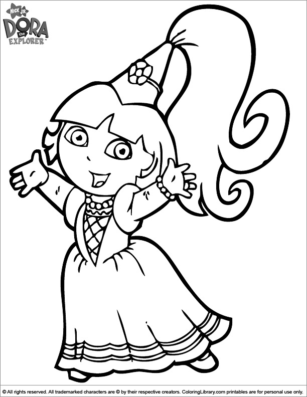 Dora the Explorer free coloring page for children