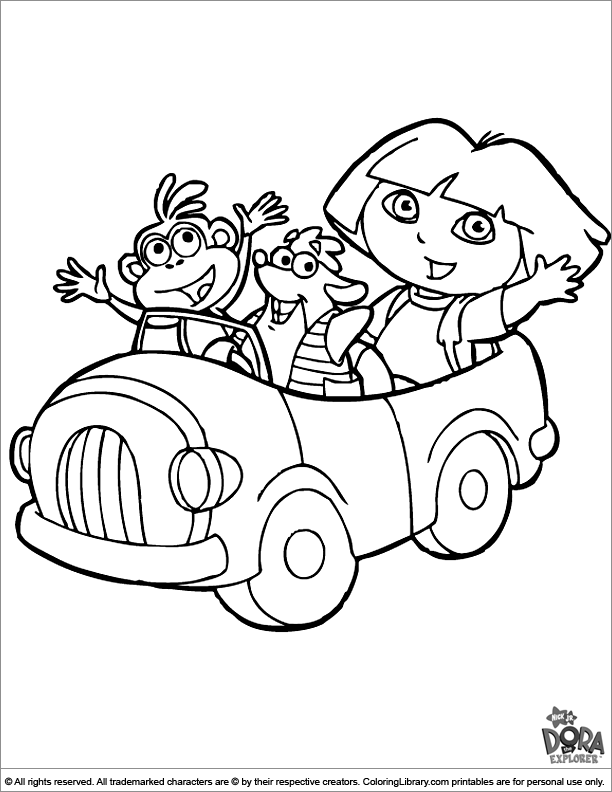 Dora the Explorer coloring book page for kids
