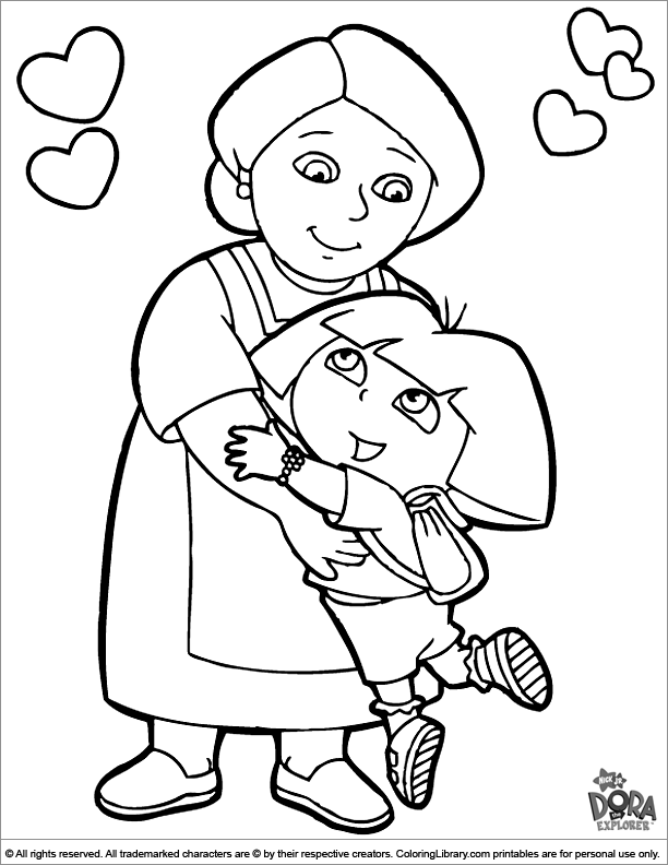 Dora the Explorer coloring page for kids