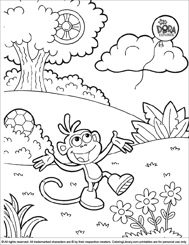 Dora the Explorer coloring picture for kids