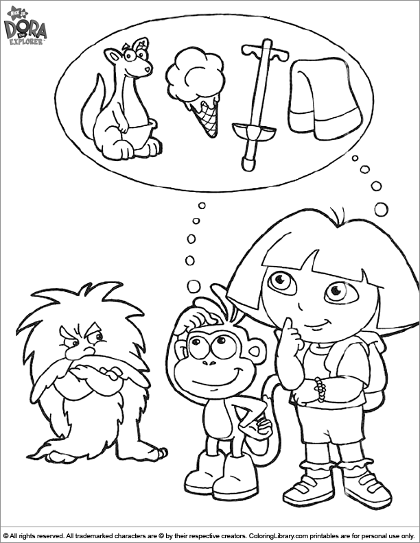 Free Dora the Explorer color sheet