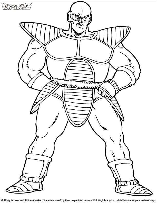 Dragon Ball Z free coloring book page