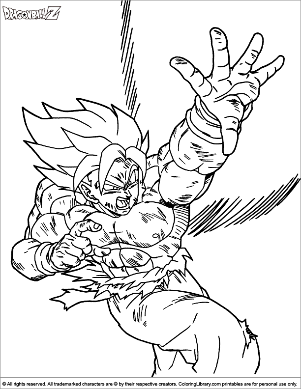 Dragon Ball Z coloring sheet for kids