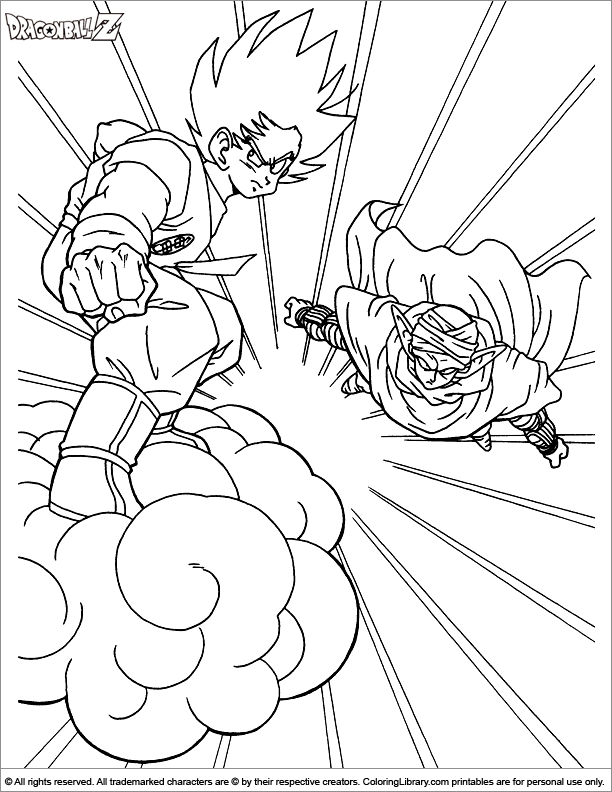 Dragon Ball Z colouring in