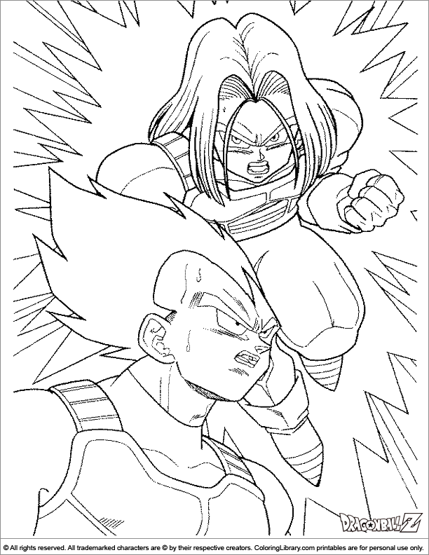 Dragon Ball Z coloring book sheet