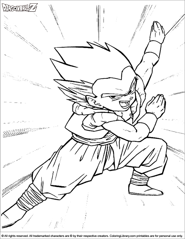 Dragon Ball Z printable coloring page for kids