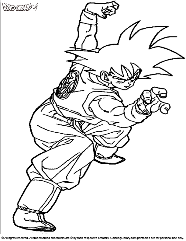 Dragon Ball Z coloring sheet to print