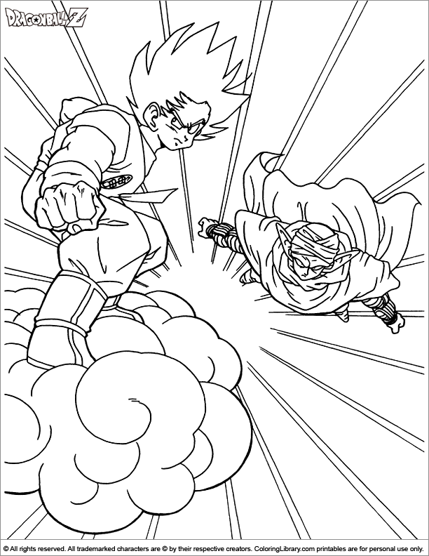 Dragon ball z online coloring page coloring library for Dbz coloring pages online