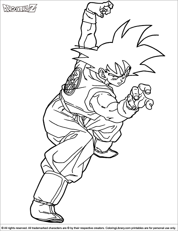 Dragon Ball Z colouring page