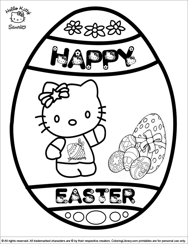 Easter Cartoon coloring sheet for kids