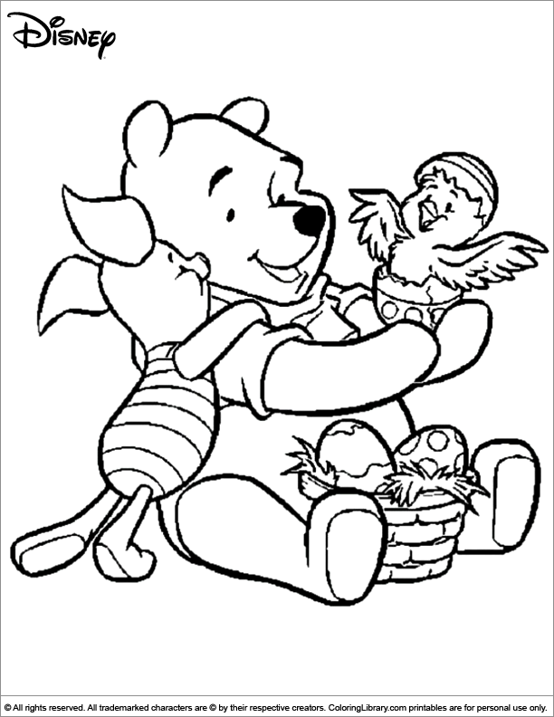 Easter disney coloring picture for Disney spring coloring pages