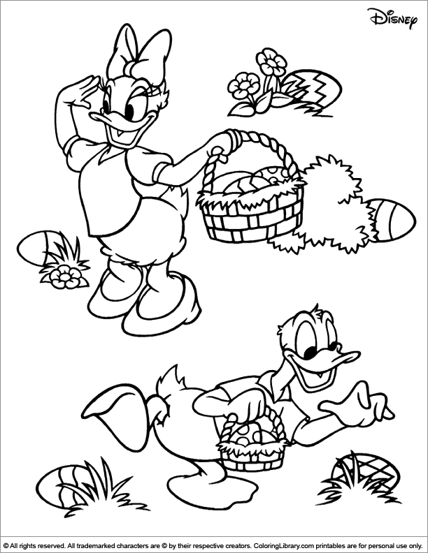 Easter Disney coloring book page