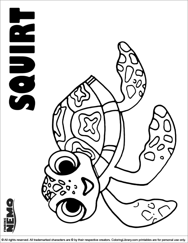 Finding Nemo colouring page