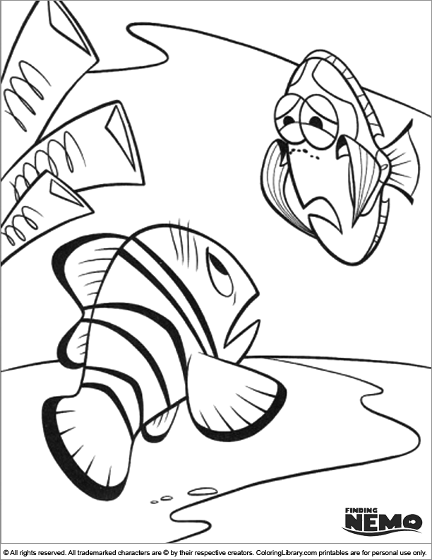 Finding Nemo coloring sheets for kids