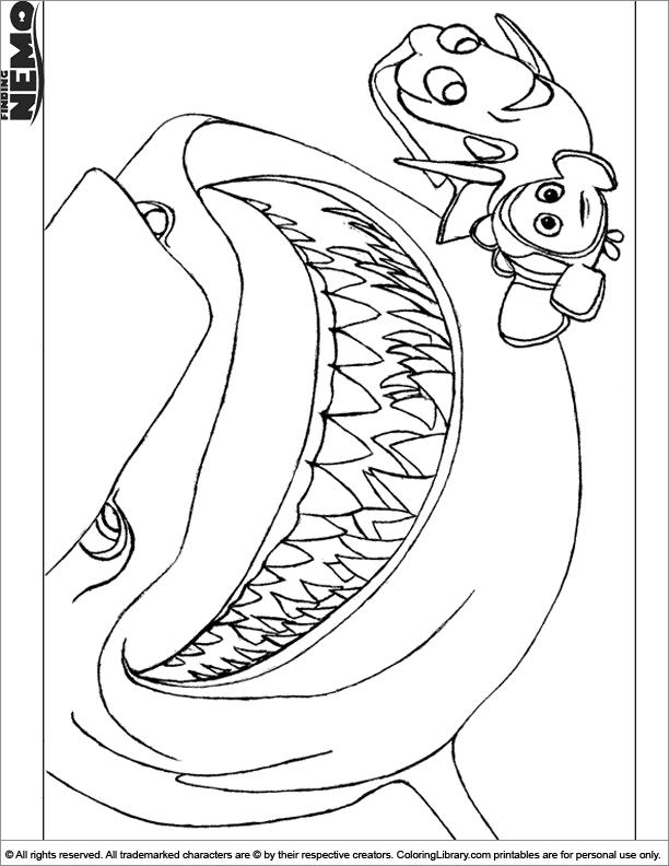 Finding Nemo colouring sheet for children
