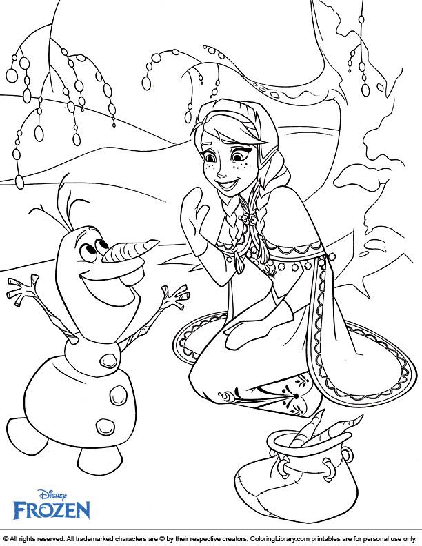 Frozen colouring sheet for kids