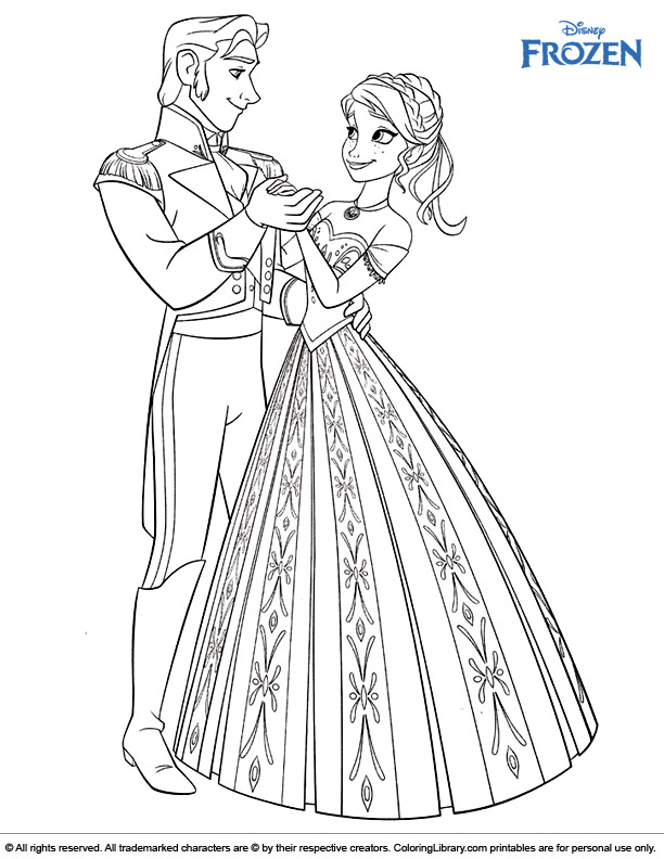 Frozen colouring page