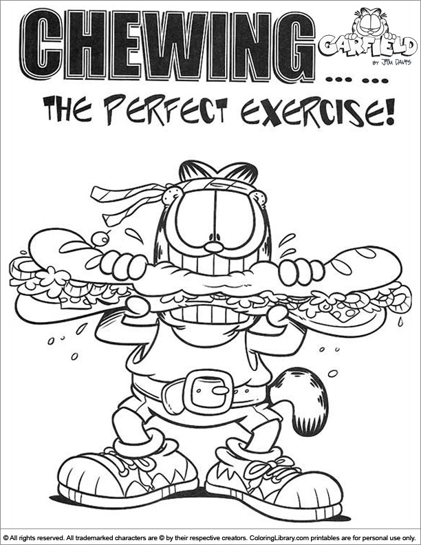 Printable Garfield Coloring Page Coloring Library