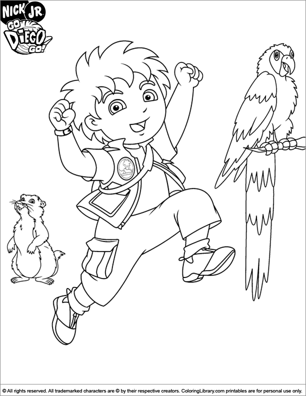 go diego go coloring pages - go diego go coloring book picture coloring library