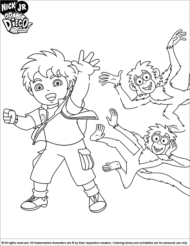 Go Diego Go coloring fun