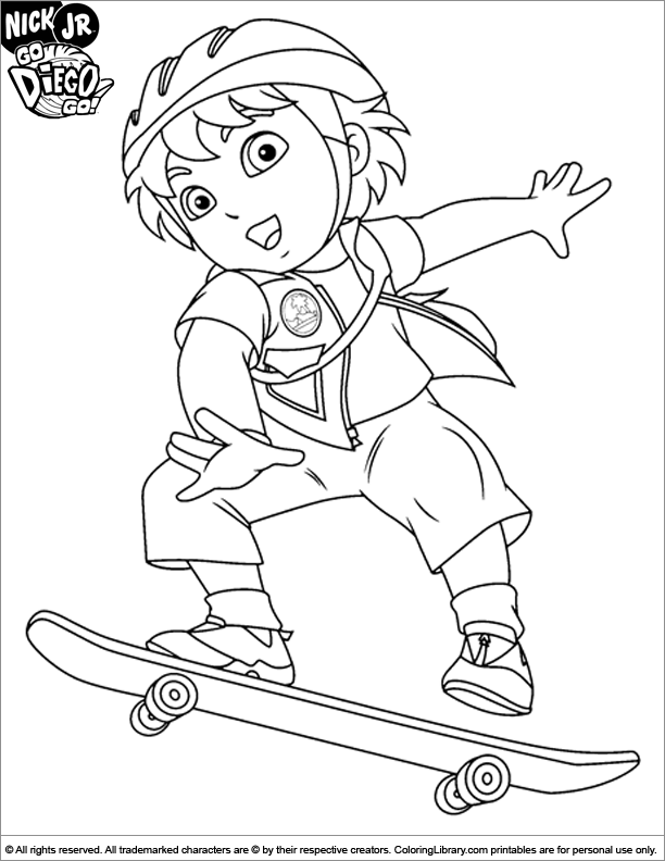Go Diego Go colouring page
