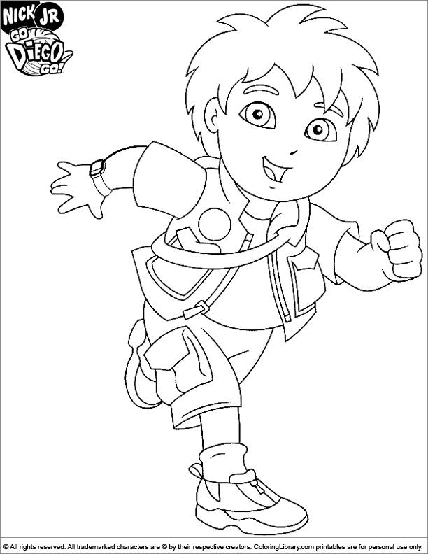 go diego go coloring book page for kids coloring library
