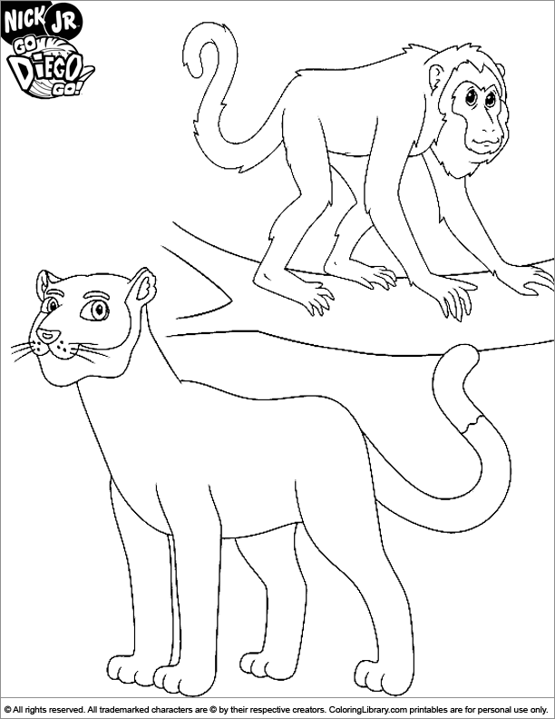 Go Diego Go coloring page free