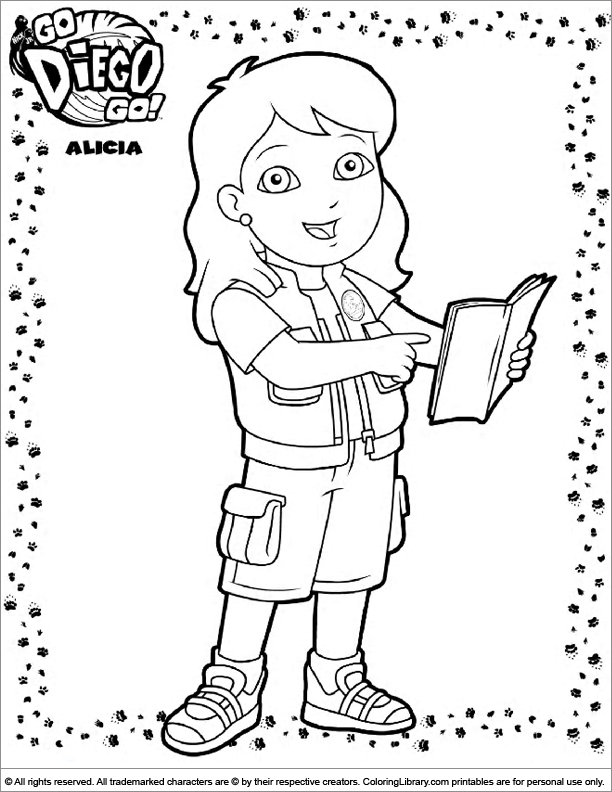 Go Diego Go free coloring book page