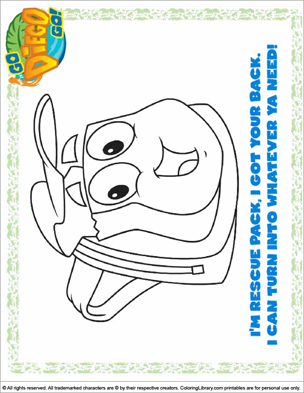 Go Diego Go coloring page that you can print