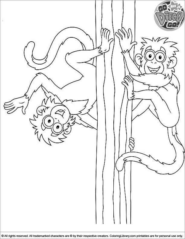 Go Diego Go printable coloring page