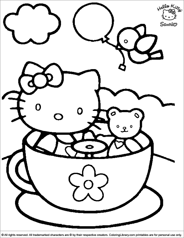 Hello Kitty colouring in