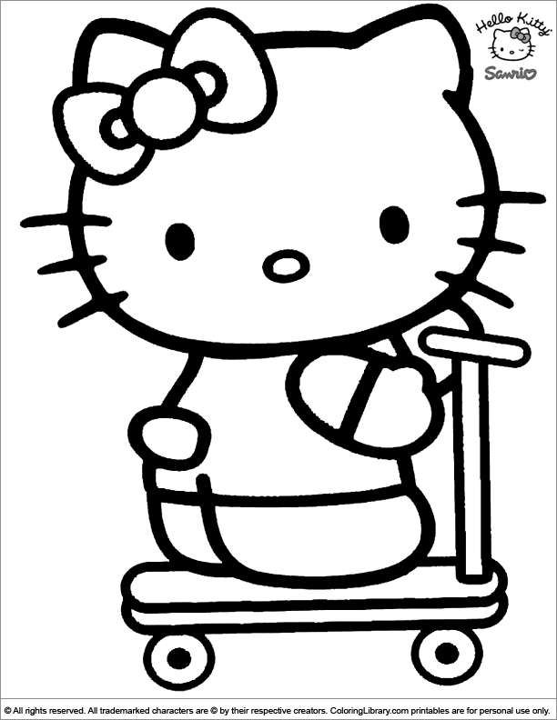 Hello Kitty coloring page to print