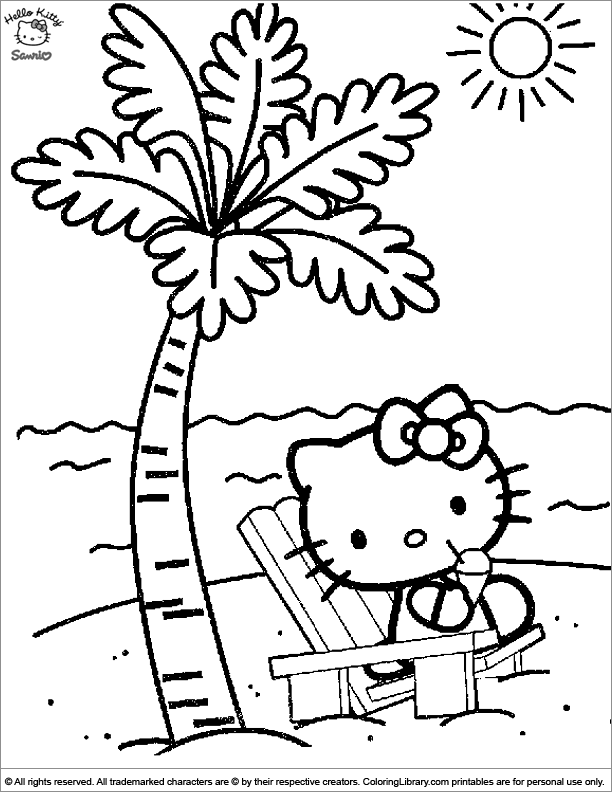 Hello Kitty free coloring sheet