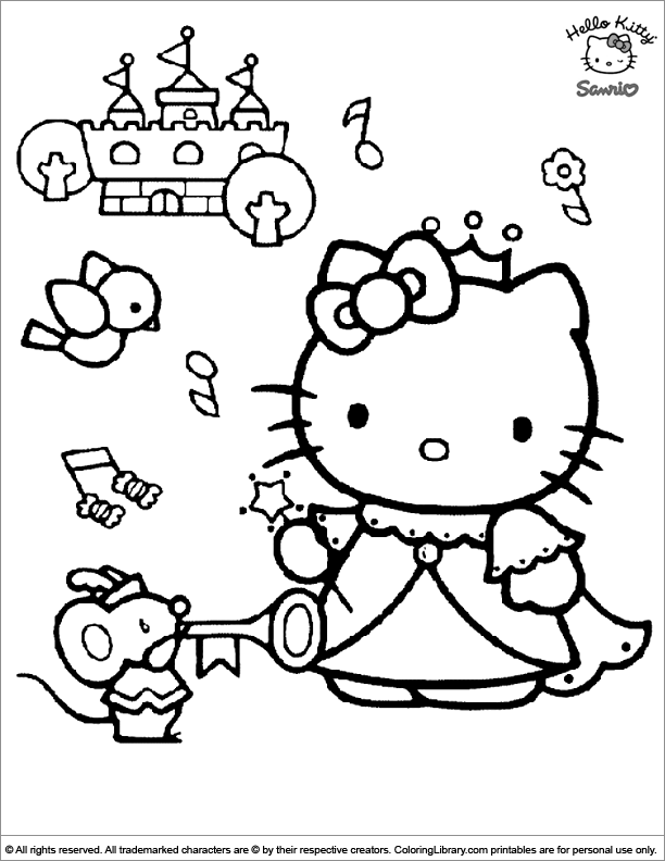 Hello Kitty coloring book page