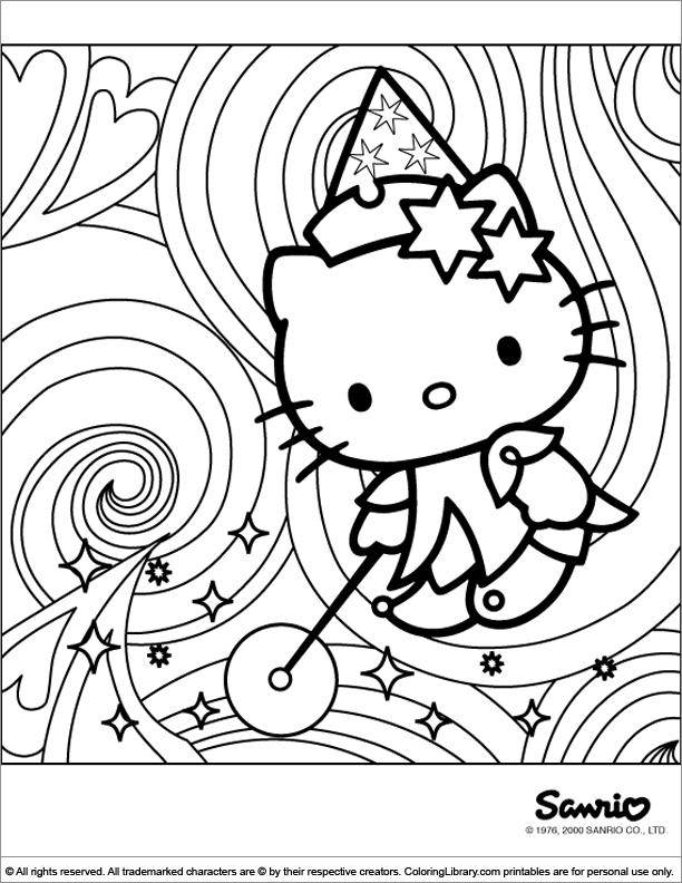 Hello Kitty coloring book sheet