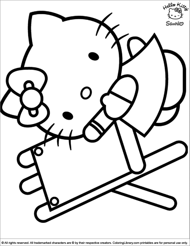 Hello Kitty printable coloring page for kids