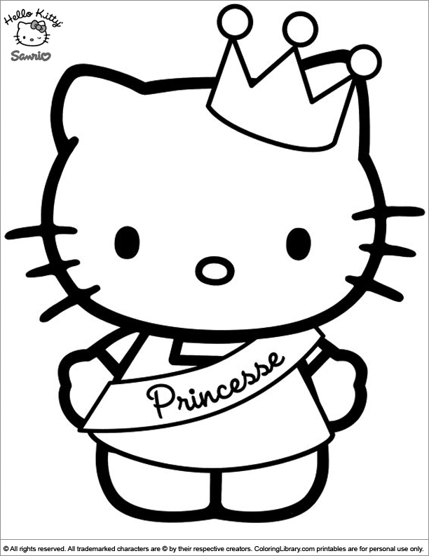 Hello Kitty coloring sheet to print