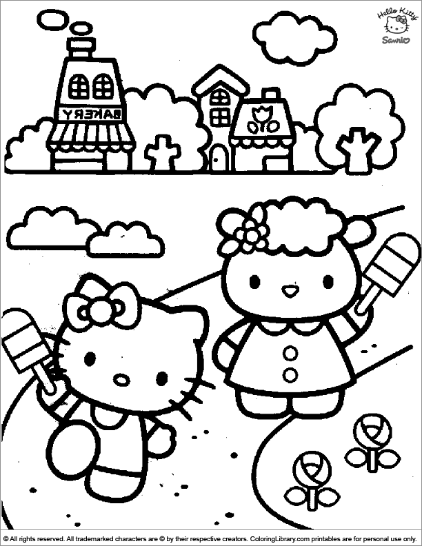 Hello Kitty coloring sheet for kids