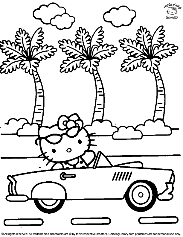 Hello Kitty coloring page online