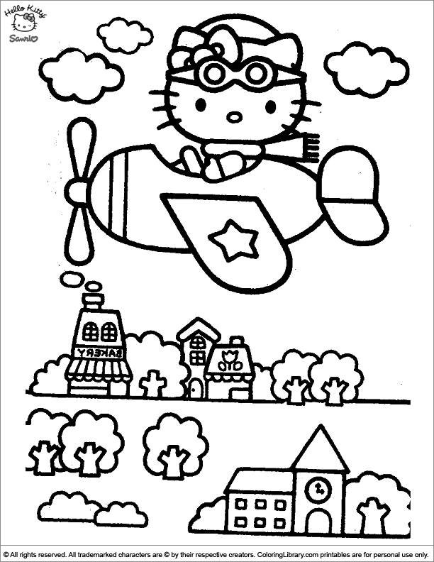 Hello Kitty free printable coloring page