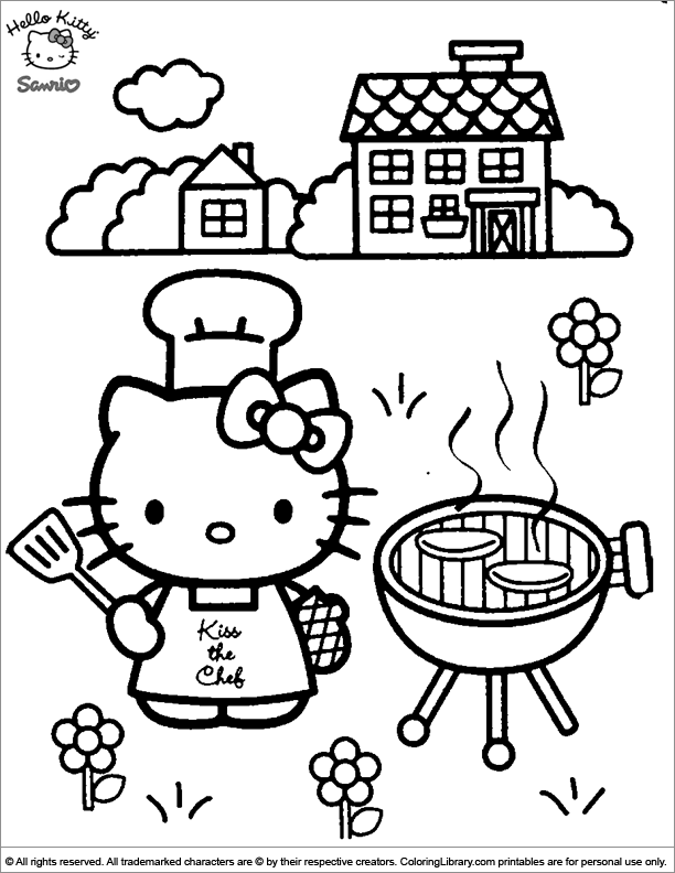 Hello Kitty coloring printout