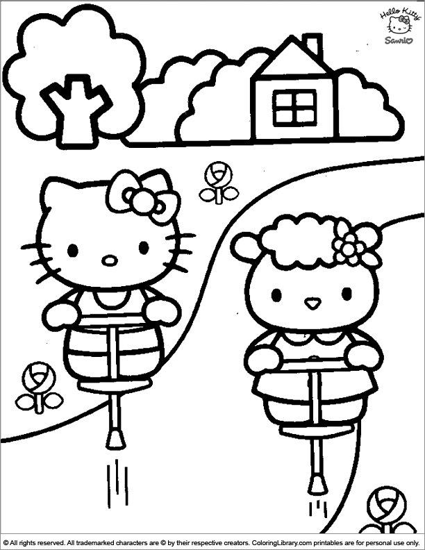 Hello Kitty color page for kids