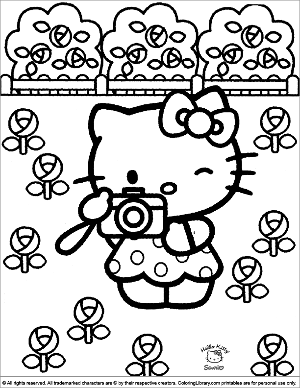 hello kitty coloring page back to hello kitty coloring